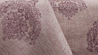 3 YD LOVELY KASLEN ALESSIO WINE DAMASK MEDALLION WOVEN UPHOLSTERY DRAPERY FABRIC