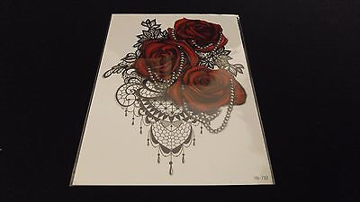 Gothic Tattoos (Gothic Series Red Roses Pearls Frills TEMPORARY HENNA TATTOO Waterproof)