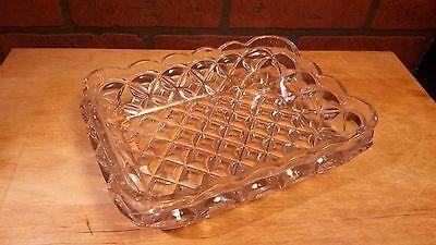 Vintage Pressed Glass Serving Bowl Dish Square Waffle Pattern w/Scallop Rim