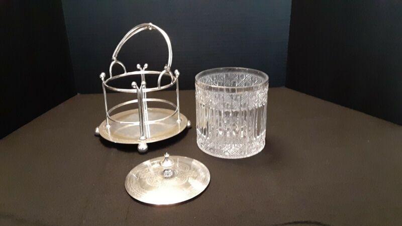 Antique Cut Glass Biscuit Jar w/Silver Plate Bassket