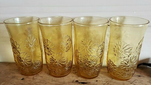 Vintage Anchor Hocking Yellow SPRING SONG Embossed Daisy Drinking Glasses - 4