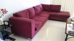Burgundy L-shape Chaise Lounge Lake Macquarie Area Preview