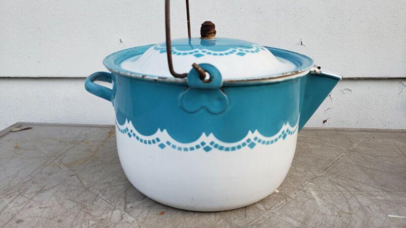 vtg nesco bonnie bonny blue enamelware graniteware large pot spout
