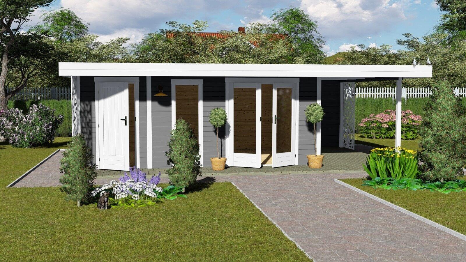 Gartenhaus Flachdach Anbau optional mit Terrasse 5.4x3.9m, 28mm Holz,Ulm 28233OF