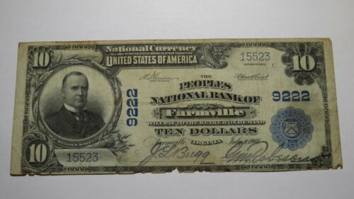 $10 1902 Farmville Virginia VA National Currency Bank Note Bill! Ch. #9222 RARE