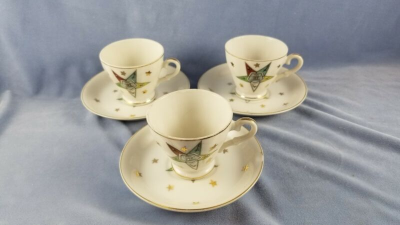 Vintage OES Demitasse Cup and Saucer Sets Lot of 3
