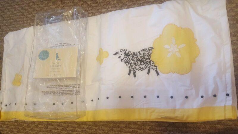 New Pottery Barn Kids Sadie LAMB Embroidered Crib Skirt bedskirt Yellow