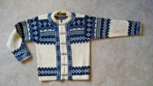 Vintage Nordstrikk Cardigan Sweater Fair Isle wool with Pewter Clasp Size 30 S/M