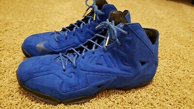 Nike Lebron 11 EXT Blue Suede Basketball Shoes (Size 12)