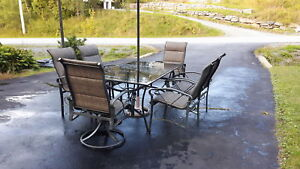 6 person patio set with glass tabletop and 6 chairs