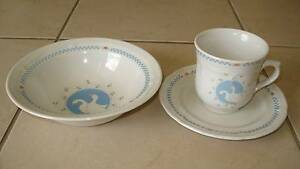 """COLLECTABLE """"Moonlight"""" White Geese Stoneware Breakfast Set Beaudesert Ipswich South Preview"""