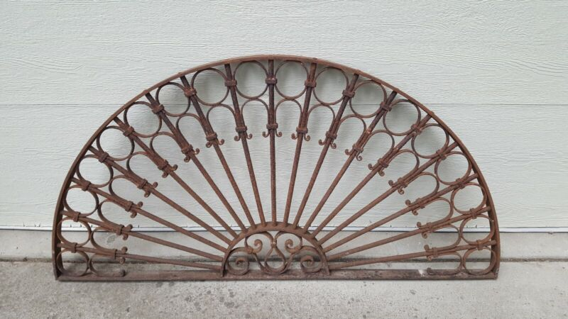 ANTIQUE ARCHITECTURAL SALVAGE IRON ARCH TRANSOM ORNATE VICTORIAN GATE WINDOW