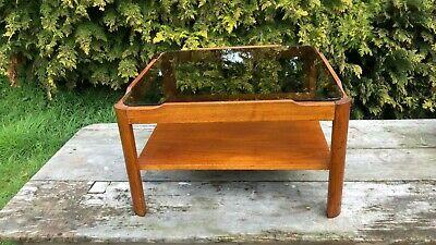Vintage Wooden Teak Coffee Table 1960's/70's Smoke Glass Top *