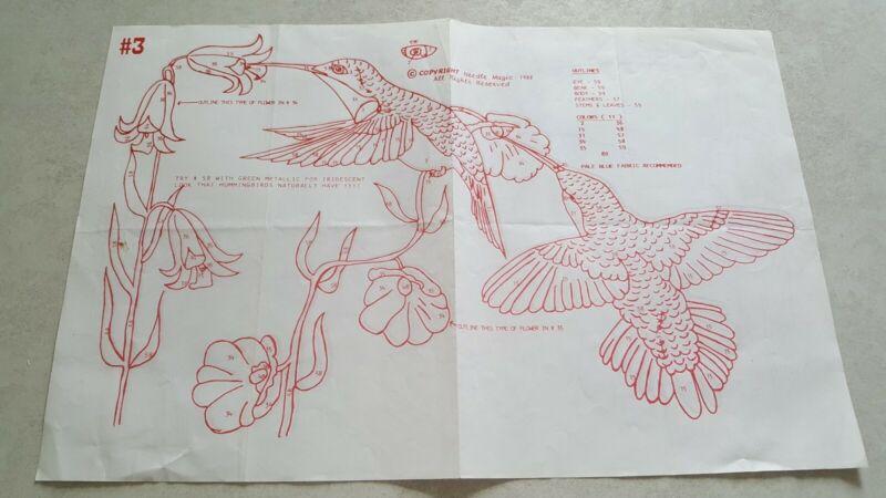 "Hummingbirds Punch Embroidery Patterns Iron On Needle Magic 1988 11"" x 17"" #3"