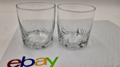 Rare THE GLENLIVET Swirl Diamond Cut Logo Base Rocks Glass