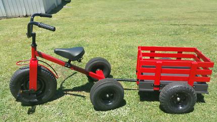 Kids Tricycle Trike & Wagon Trailer Set