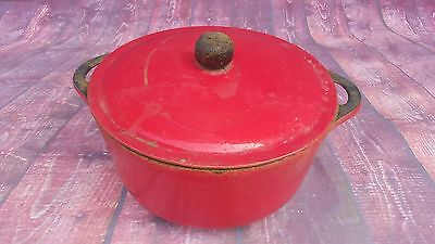 Old Heavy Cast Iron Red Cooking Dish Pot Casserole Cooking Baking Le Creuset