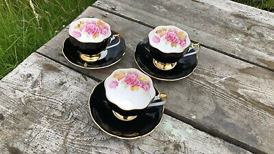 3 x Beautiful Vintage Queen Anne Black White & Gold Rose Cup & Saucers *  Gold-rose-cup