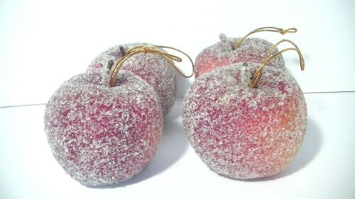 Lot of 4 Vintage Sugared Frosted Apple Christmas Ornaments