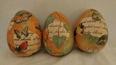 Pier 1 NEW Decoupage Easter/Spring Eggs Set of 3