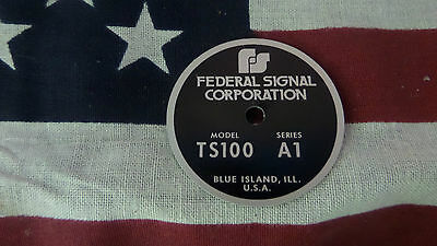 Federal Signal Model Ts100 Series A1 Pa Siren Speaker Replacement Badge