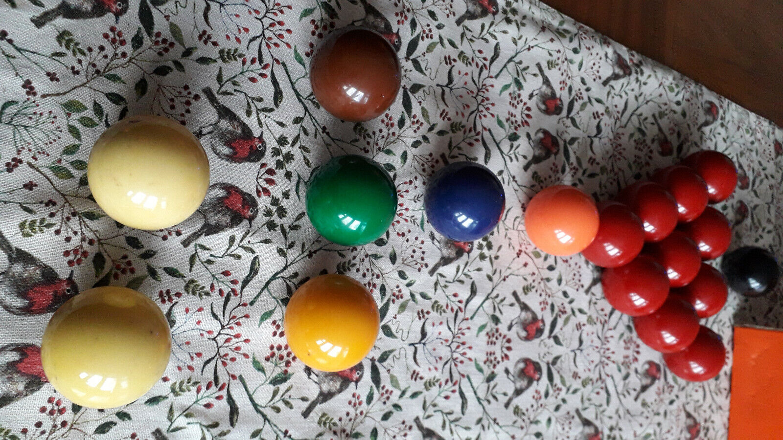 Snooker balls, 10 reds in set, 48mm 1 7/8 inch. Used in good condition.