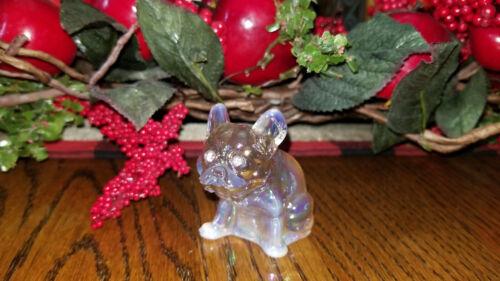 French Bulldog Figurine Glass Champagne Opal Carnival