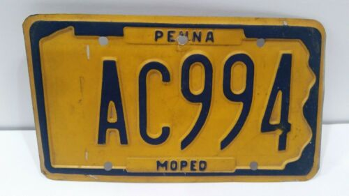 Vintage Pennsylvania (PENNA) Moped License Plate Tag VTG AC994