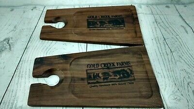 Gold Creek Farms Natural Wood Cheese Board Wine Holder Tray (Gold Natural Wood Cheese Board)
