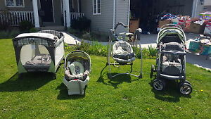 Playpen with bassinet,  swing, stroller (sold carseat)
