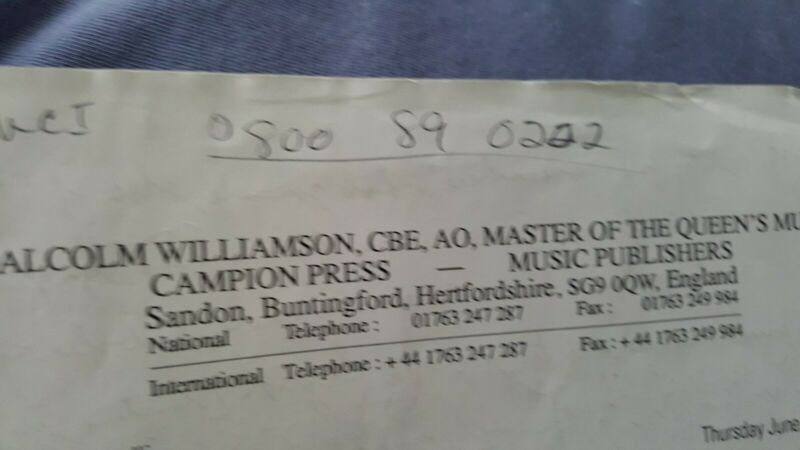 1995 Letter Malcolm Williamson Master/Queen