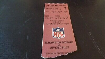 8/2/96 Washington Redskins @ Buffalo Bills NFL Pre-season Ticket Stub.