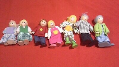 Lot of 7 pc. Award Winning Hape Caucasian Doll Family Set for Kid's Dollhouses