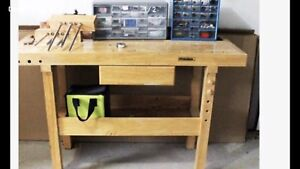 Oak workbench with two vises