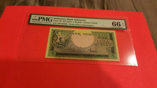 indonesia 5 rupiah pmg 66  unc