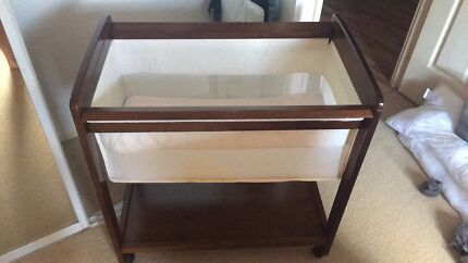 Childcare Brown Wooden Bassinet with Tea Tree Baby Mattress.