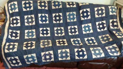 Antique 1900s Indigo Blue & Shirting Churn Dash Quilt Top 66 by 94