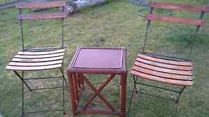 Vintage  wrought iron and timber chairs and table  $30 lot Cessnock Cessnock Area Preview
