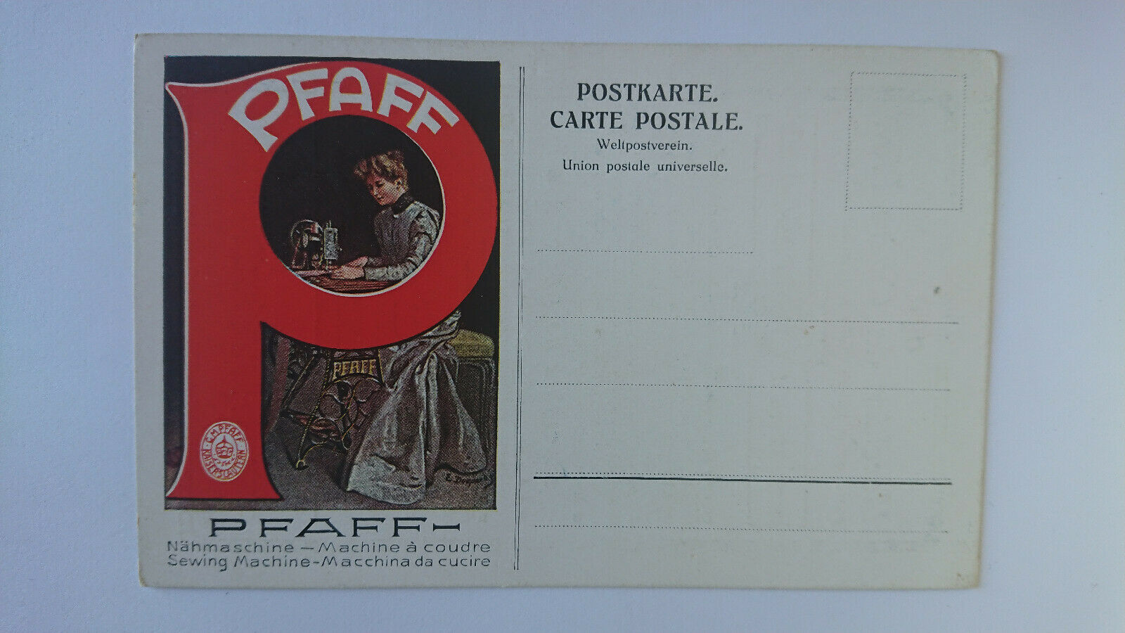 Cartolina Pubblicitaria Macchine Da Cucire Pfaff Germania c17