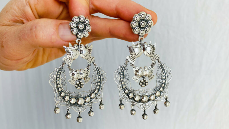 Taxco Silver Bird Earrings. Sterling Silver. Mexico. Frida Kahlo