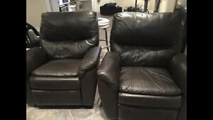 Two Chocolate Brown - Leather Manual Recliners