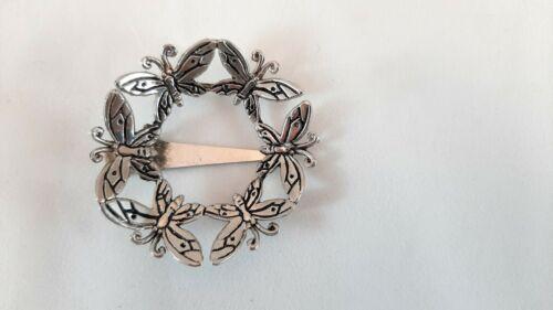 Vintage Emilia Castillo 1997 Circular Butterfly Silver Plated Scarf Clip