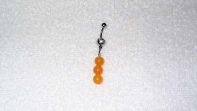 Yellow Jade Healing Beads Belly Button Navel Ring Body Jewelry Chakra Belly Button Ring Healing