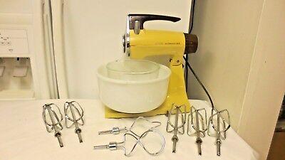 Older Sunbeam Mixmaster Yellow Kitchen Appliance-Sunbeam Glasbake Mkd Lg Bowl