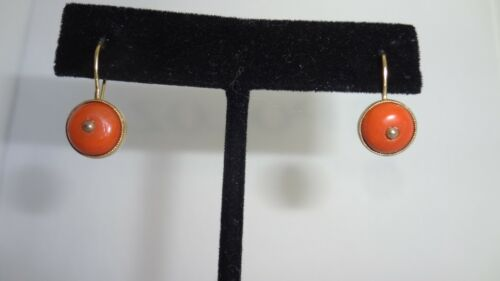 STUNNING!! Antique 14K Yellow Gold & Natural Red Coral Drop Earrings