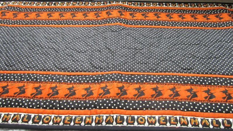 """Halloween quilt table runner topper witches 19"""" x 57"""" handmade"""