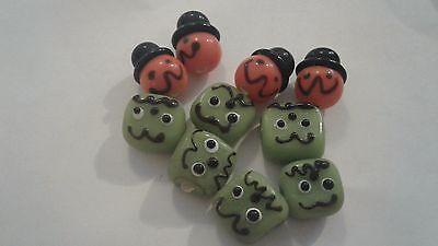 Green Monsters Pumpkins Halloween Lampwork Glass Beads 8 or 16 Holiday DIY Charm - Monsters Halloween