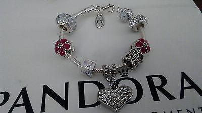"Authentic Pandora Sterling Silver Charm Bracelet w/European Charms Beads 6.3"" Sm"
