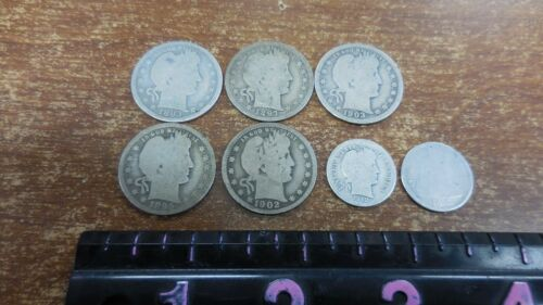 FIVE BARBER QUARTERS,ONE BARBER DIME & ONE SEATED DIME