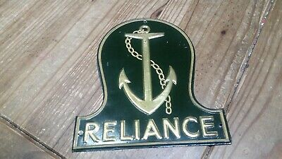 ORIGINAL 1900'S RELIANCE MARINE INSURANCE. CO. (1881-1916) FIREMARK PLAQUE SIGN